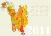 Calendar for 2011 with cat. Universal template for greeting card, web page, background poster