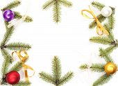 christmas decoration twig isolated on white background. poster