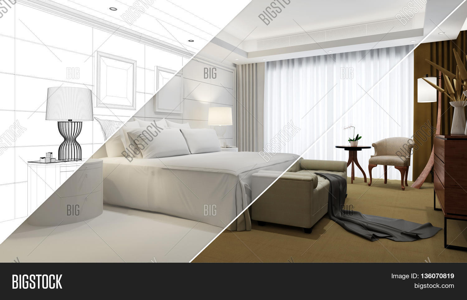 Planning development image photo free trial bigstock planning and development of hotel room from cad blueprint to 3d rendering malvernweather Choice Image
