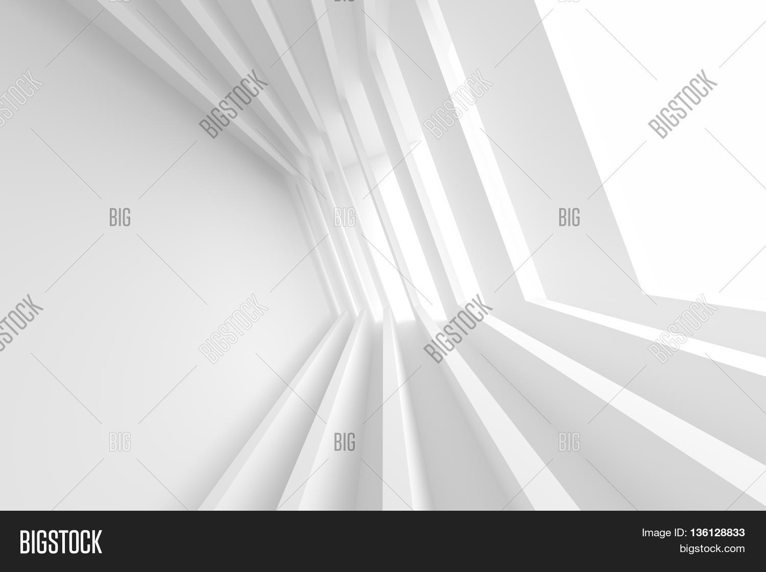 minimal office. White Building Construction. Abstract Futuristic Architecture Background. Minimal Office Interior Design. Empty Room A