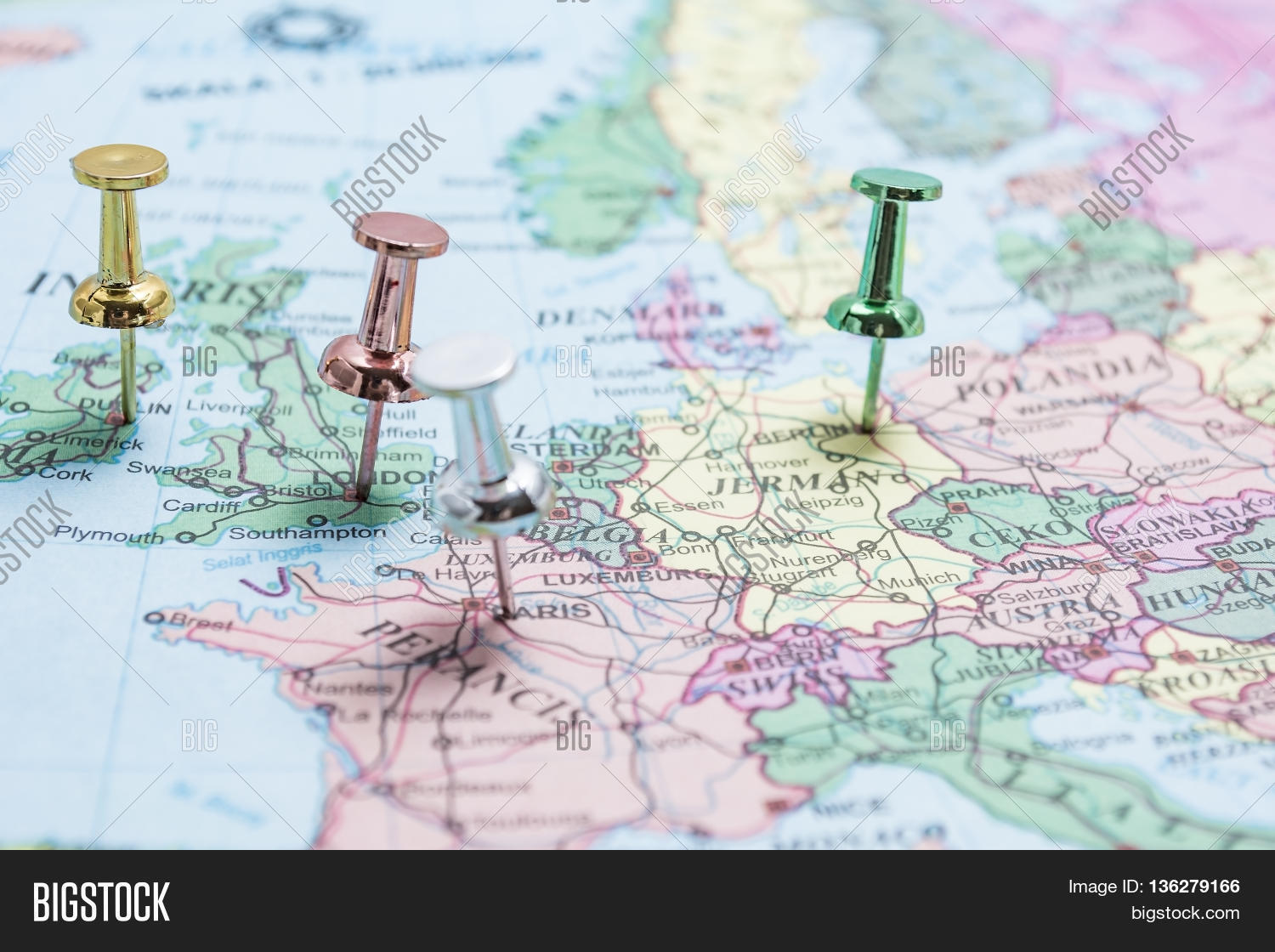 Map Europe Pins On Image Photo Free Trial Bigstock