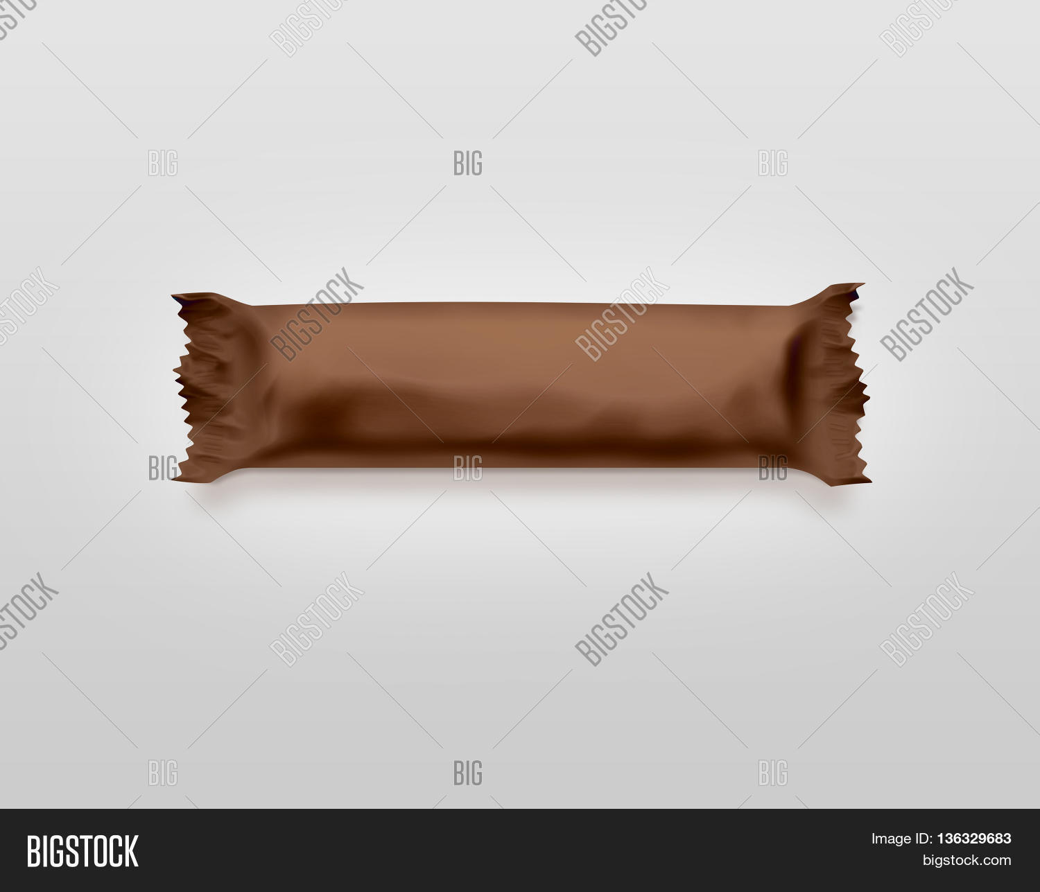 blank brown candy bar plastic wrap mockup isolated 3d illustration empty chocolate bar packaging wrapper