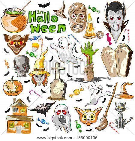Vector design of Halloween greeting background decoration