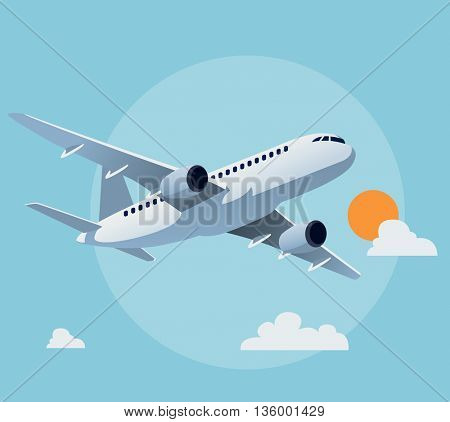 Flat airplane illustration, view of a flying aircraft