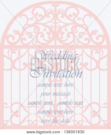 Wedding Invitation card in shape of a cage with lace ornament. Beige color. Vector