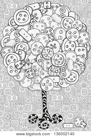 Artistic tree with clothes buttons. Hand drawn doodle tribal. Made by trace from sketch. Ink pen. Black and white background. Zentangle patters.