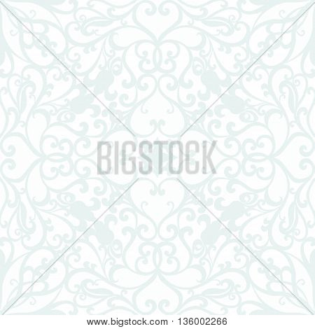 Classic card with lace ornament. Blue color. Vector