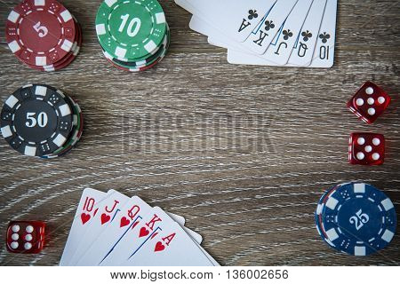 Gambling chips frame on Blue card table background