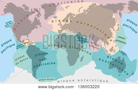 Tectonic Plates - FRENCH TERMS! - world map with major an minor plates - vector illustration.