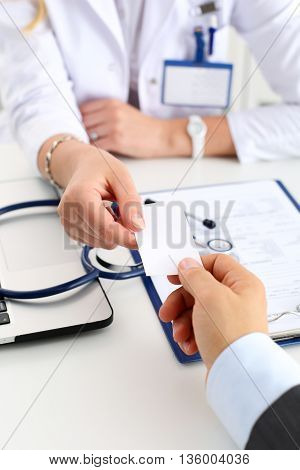 Female Physician Hand Hold White Calling Card
