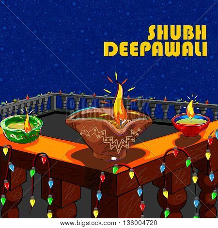 Vector design of house decorated with diya for Diwali wishing Shubh Deepawali Happy Diwali