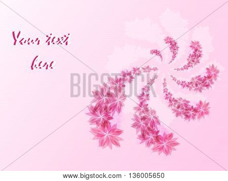 Floral semicircular logo in pink, floral background, vector illustration