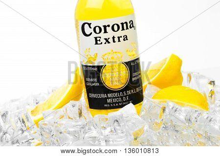 Frosty Bottle Of Corona Extra Beer Isolated On White