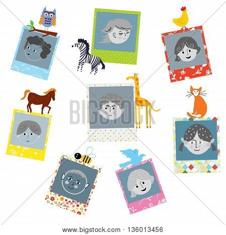 Photo frames designs for kids with funny animals vector illustration