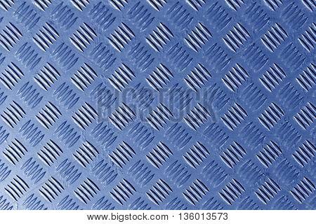 Blue Metal Textured Floor Surface.