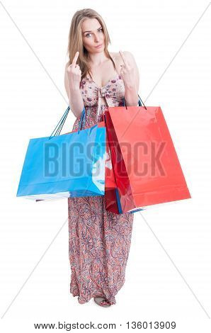 Bad Shopper Female With Gift Bags Doing Double Obscene Gesture