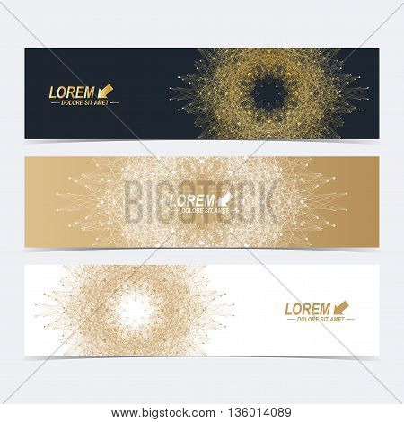 Geometric abstract banners with golden mandala. Molecule and communication background for website templates. Geometric abstract background with connected line and dots. Vector illustration
