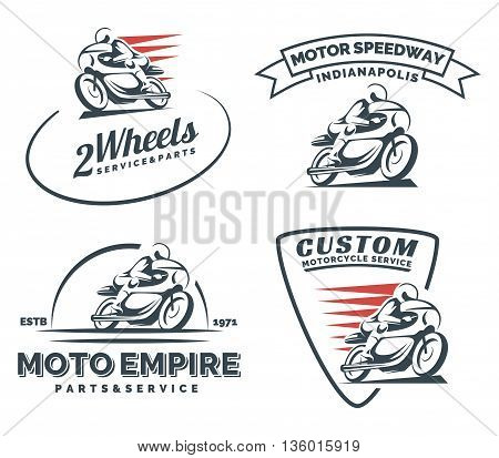 Vintage cafe racer motorcycle logo badges and emblems isolated on white background. Motorcycle restoration service and parts. Classic motorcycle t-shirt design.