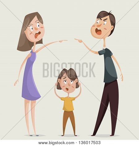Divorce. Family conflict. Couple man and woman swear and child close his ears. Cartoon characters. Vector illustration poster