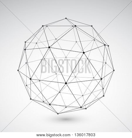 Three-dimensional polygonal sphere on light grey background