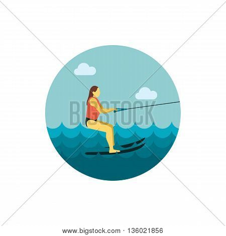 Water skiing vector icon. Beach. Summer. Summertime. Holiday. Vacation, ride, water sport, eps 10