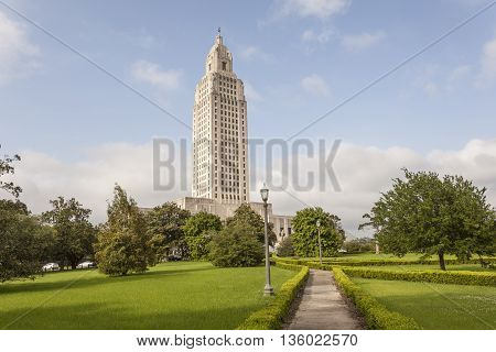 The Louisiana State Capitol tower in the city of Baton Rouge. Louisiana United States