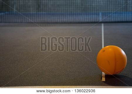 Close-up of Ping Pong Ball on Ping Pong Table