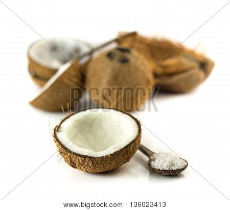 Half Of Coconut And Grated On White Background