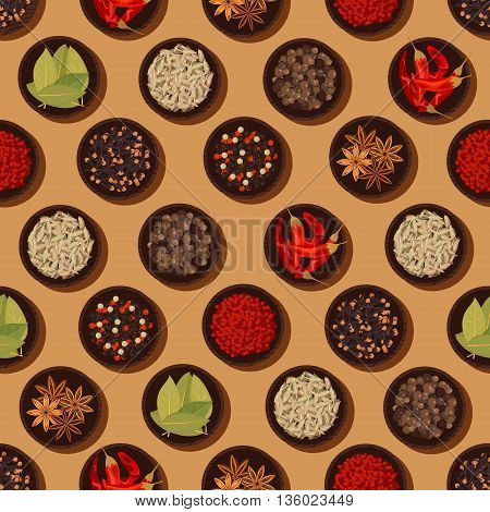 Fragrant and healthy seamless spices and seasonings pattern background with wooden bowls filled with chili and sweet paprika, bay leaves and cardamom pods, anise stars and fragrant pepper, cloves and peppercorn mix