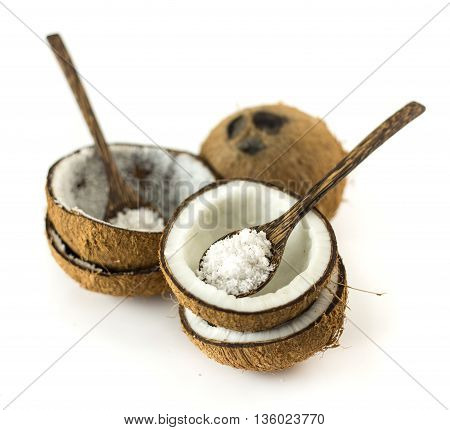 Group Of Coconuts On White Background