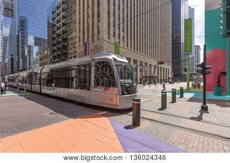 HOUSTON USA - APR 14: Modern tram or trolley car in Houston downtown district. April 14 2016 in Houston Texas United States