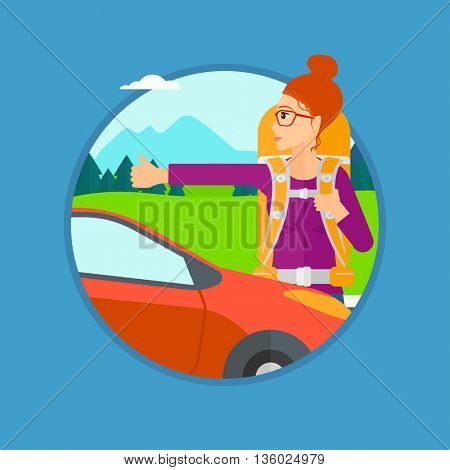 Young woman with backpack hitchhiking on roadside. Hitchhiking woman trying to stop a car on the road. Vector flat design illustration in the circle isolated on background.