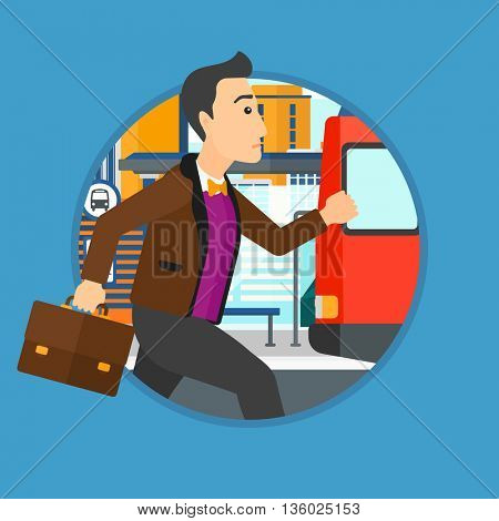 Latecomer man running along the sidewalk to reach a bus. Young man came too late at bus stop. Man with briefcase chasing a bus. Vector flat design illustration in the circle isolated on background.