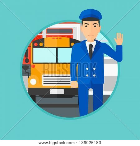 School bus driver waving while standing in front of yellow bus. School bus driver standing on the background of school building. Vector flat design illustration in the circle isolated on background.