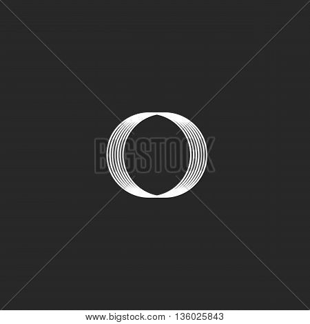 Monogram Letter O Hipster Logo, Intersection Thin Line Simple Rings, Black And White Linear Style Bu