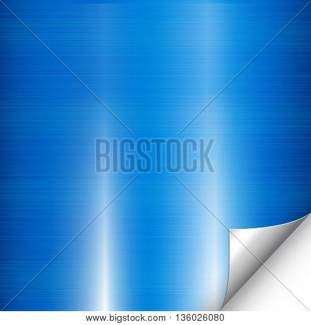 Abstract blue background metal texture and folded corner