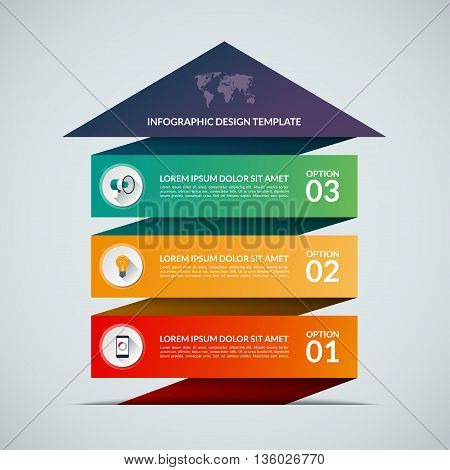 Up arrow infographic template. Business growth concept banner with 3 options, parts, stages, buttons.