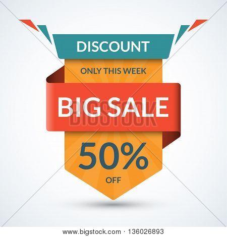 Big sale banner. Discount label. Best offer tag. 50 percent off