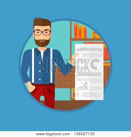 A hipster man showing his business presentation with some text and charts. Man giving a business presentation in the office. Vector flat design illustration in the circle isolated on background.
