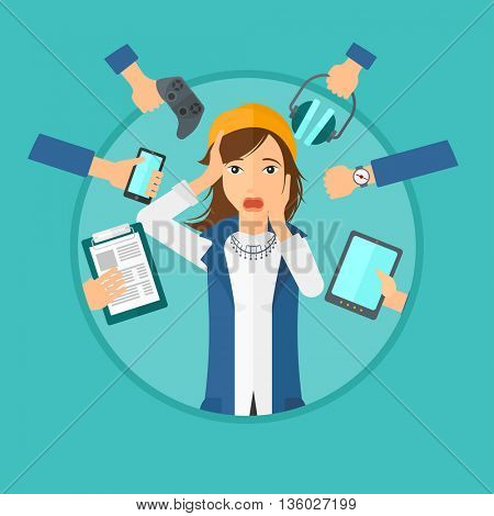 Woman in despair and many hands with gadgets around her. Young woman surrounded with gadgets. Woman using many electronic gadgets. Vector flat design illustration in the circle isolated on background.
