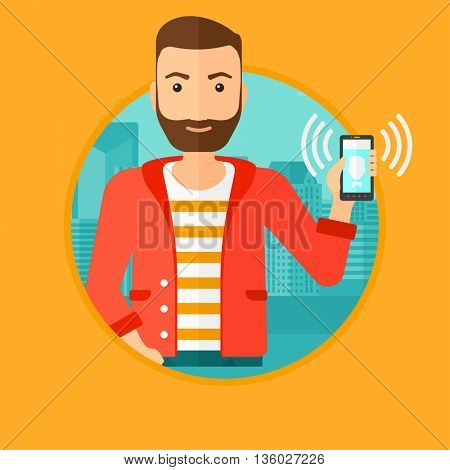 A hipster man holding ringing mobile phone on a city background. Young man answering a phone call. Man with ringing phone in hand. Vector flat design illustration in the circle isolated on background.