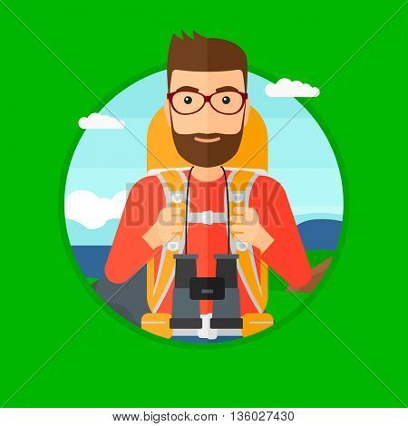 Hipster man with the beard walking in the mountains. Male traveler with backpack and binoculars. Backpacker hiking in mountains. Vector flat design illustration in the circle isolated on background.