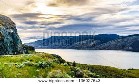 Sunset over Kamloops Lake along the Trans Canada Highway in British Columbia, Canada
