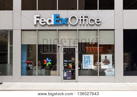 HOUSTON USA - APR 14: Office of the american tranportation company FedEx in the city of Houston. April 14 2016 in Houston Texas United States