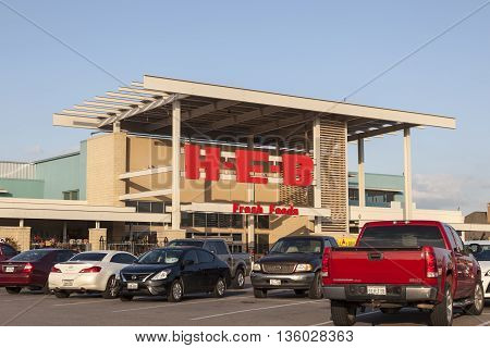 HOUSTON USA - APR 14 2016: HEB - Here Everything's Better - Grocery store in the city of Houston. HEB is an American supermarket chain based in San Antonio Texas