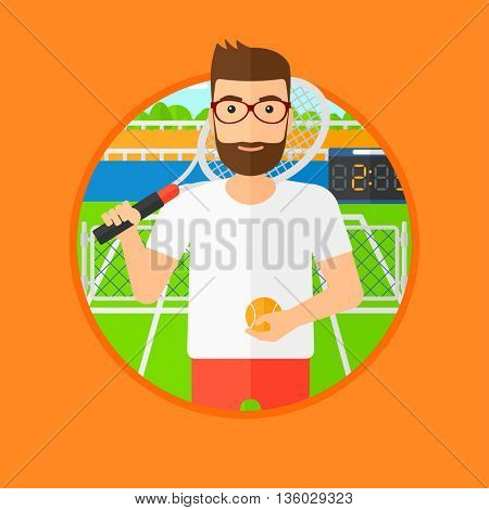 Hipster tennis player standing on the tennis court. Male tennis player holding a tennis racket and a ball. Man playing tennis. Vector flat design illustration in the circle isolated on background.