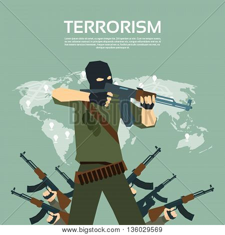 Armed Terrorist Group Over World Map International Terrorism Concept Flat Vector Illustration