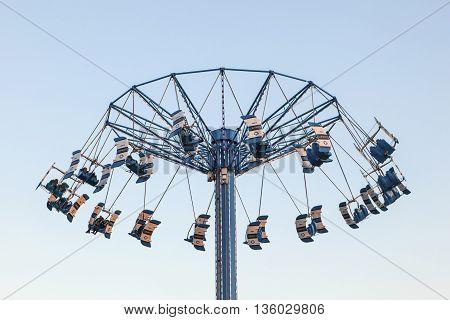 KEMAH USA - APR 14: High swing carousel tower at the Kemah Boardwalk. April 14 2016 in Kemah Texas United States