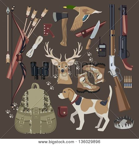 Flat Hunting equipment icon set.