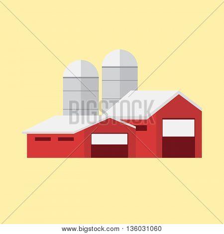 Vector illustration rural farm landscape eps 10